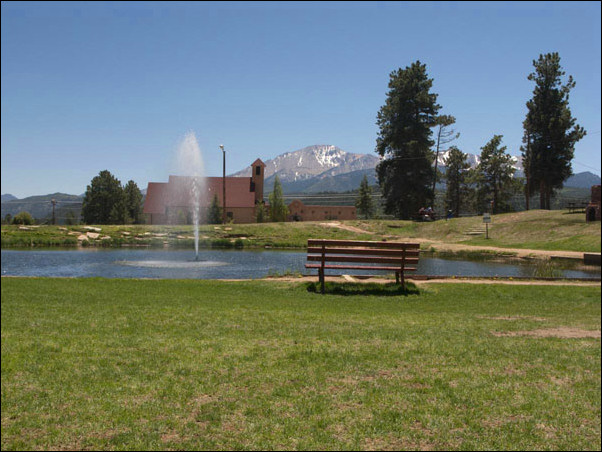 Memorial Lake and Park, downtown Woodland Park, CO